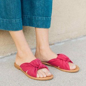 NEW Soludos Hot Pink Knotted Slide Sandal Shoes CT